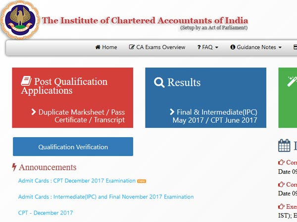 ICAI CPT December 2017 Exam Admit Cards released, how to download