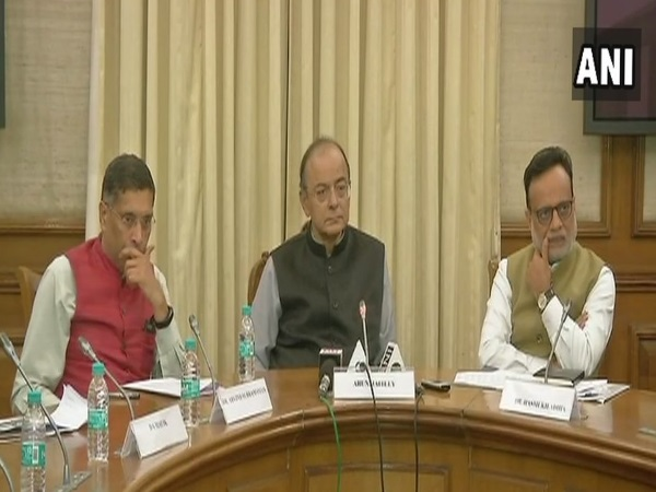 Arun Jaitley addressing media persons on GDP growth. Photo credit: ANI