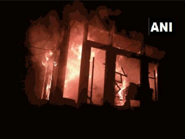 BJP leader house set on fire. Photo credit: ANI