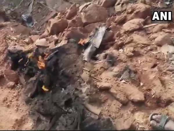 Kiran trainer aircraft crashes in Telangana. Courtesy: ANI news
