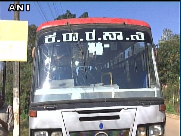 Stones thrown at a Karnataka State Road Transport Corporation bus in Madikeri. Courtesy: ANI news