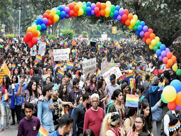 Members and supporters of the LGBT (lesbians, gays, bisexual and transgender) groups during Delhi's 10th Queer Pride march