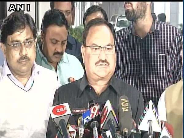 CEC secretary and Union Minister JP Nadda addressing the media after CEC meeting