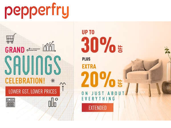 Cushions Rs.99/- Bean Bags Rs.999/- Beds Rs.5199... PEPPERFRY Extra 20% Off*