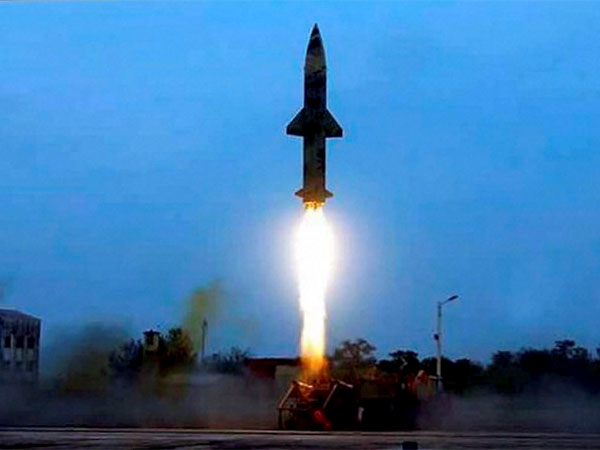 File photo of Prithvi-II missile being test fired