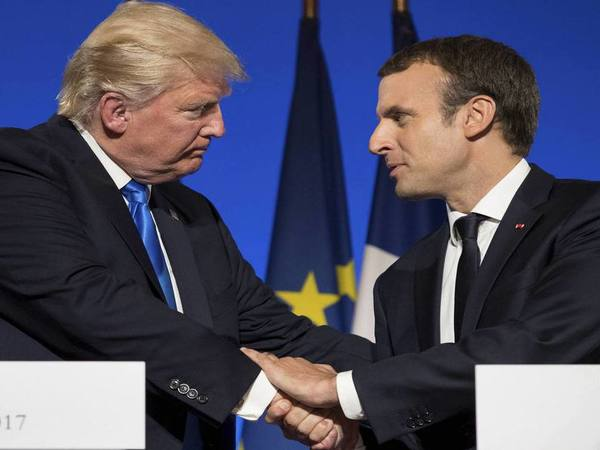President Donald Trump and French President Emmanuel Macron. PTI file photo