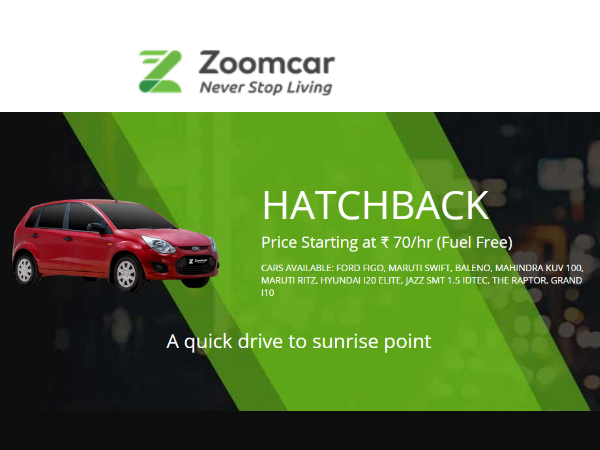 No More Hitch-Hiking! Choose HATCHBACK at Rs. 70/hr & Fuel Free*