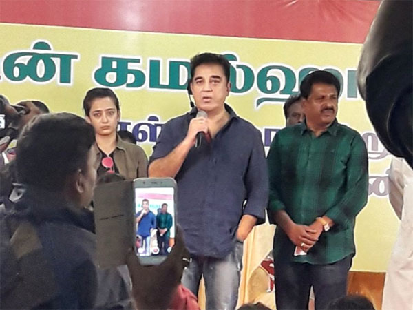 Actor Kamal Hassan visits medical camp. Courtesy: ANI news
