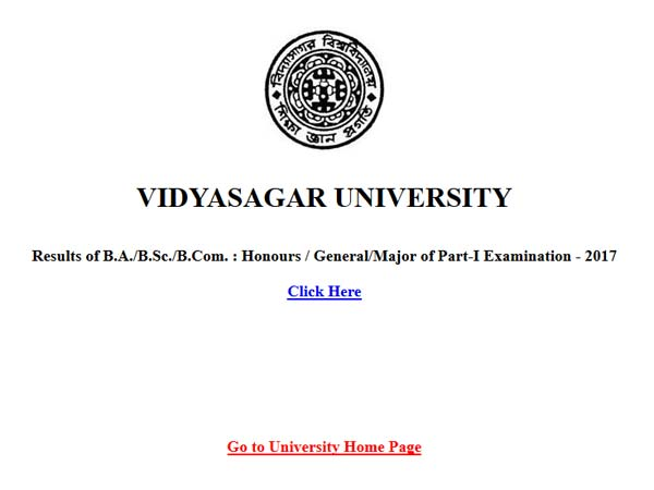 Vidyasagar University results 2017 declared: Check for BA, BCom, BSc part 1
