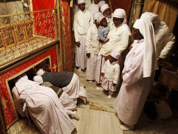 Christian worshippers from Nigeria pray in the Grotto of the Church of Nativity, traditionally believed by Christians to be the birthplace of Jesus Christ, in the West Bank town of Bethlehem. PTI file photo