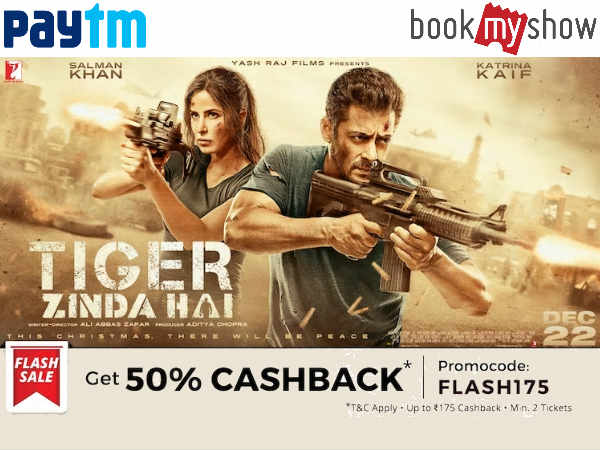 Christmas Special: Tiger Zinda Hai Movie Tickets Flat 50% Cashback* + Rs. 40 Cashback