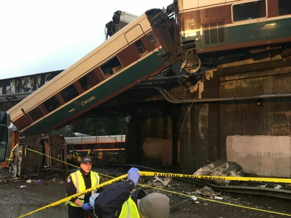 Amtrak train derails on highway in Washington state