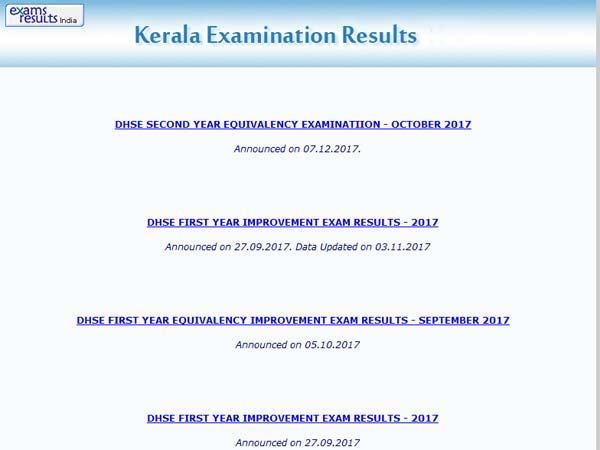 DHSE Kerala Second Year Higher Secondary Equivalency Exam results 2017 declared