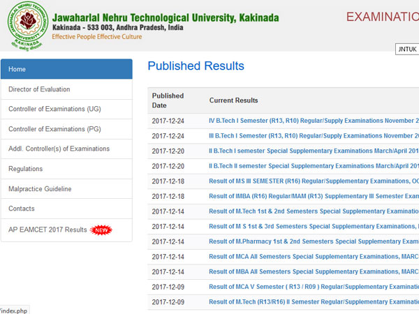 JNTUK BTech 2017 results regular/supply declared