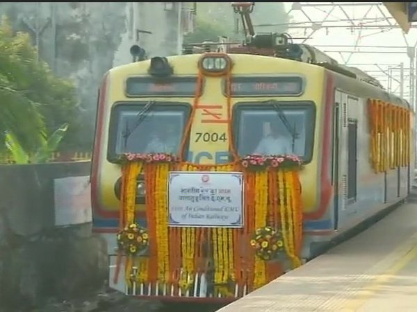 First air conditioned local train of India flagged off from Borivali station by Maharashtra minister Vinod Tawde. Courtesy: ANI news