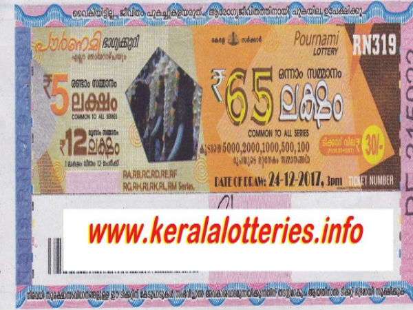 Kerala Lottery Pournami RN 319 results to be out
