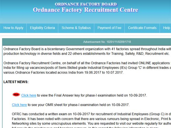 OFRC result final answer key released on ofbindia.gov.in