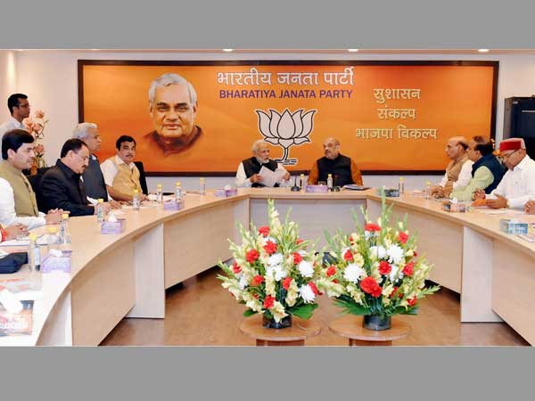 Narendra Modi, Amit Shah and other BJP leaders at CEC meeting. PTI file photo