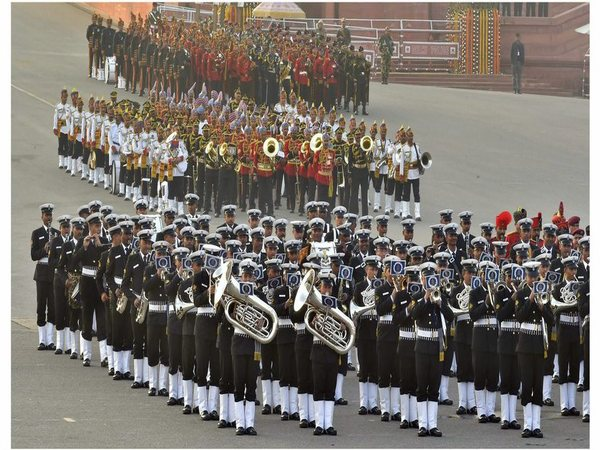 Tri-services band perform during a full dress rehearsal for the Beating Retreat ceremony at Vijay Chowk on Saturday