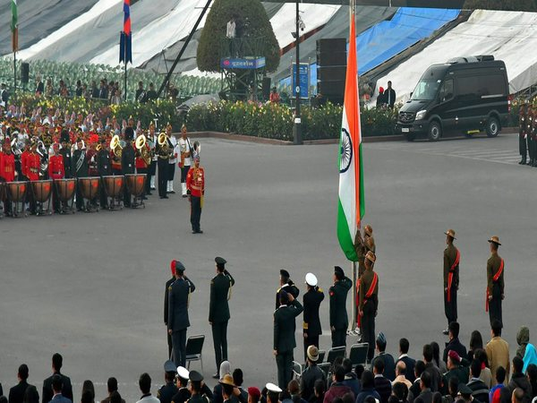 Soldiers bring down the Tri-colour after the conclusion full dress rehearsal of Beating Retreat ceremony