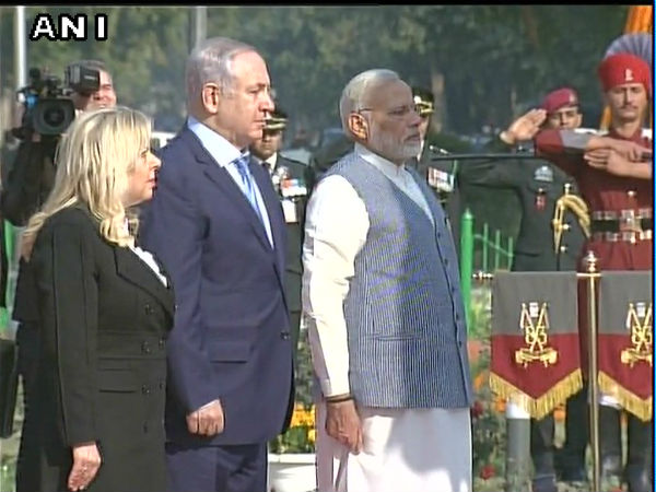 Israel PM Netanyahu, Modi pay homage to martyrs at Teen Murti