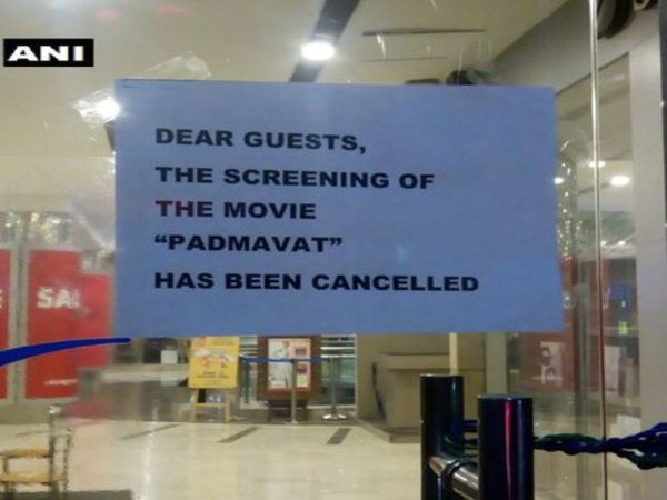 Notice at the entrance of PVR cinema in Ambiance Mall