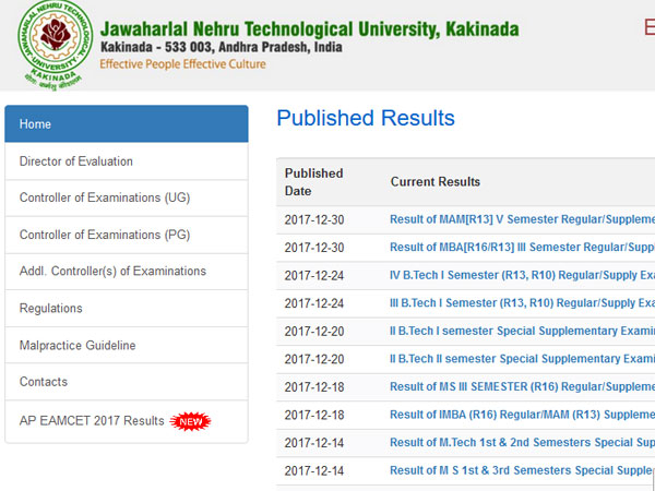 JNTUK BTech 2-1 Results 2017 declared, check now