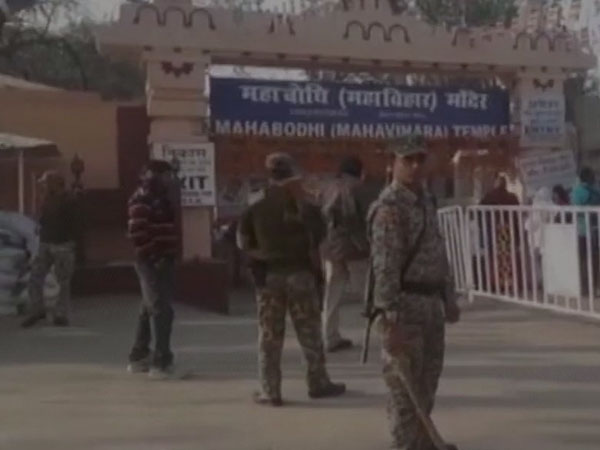 Bihar: Visuals from Gaya's Mahabodhi Temple, suspicious object was found at one of the emergency gates of the temple, last night. The Dalai Lama is staying at the nearby Buddhist Monastery.