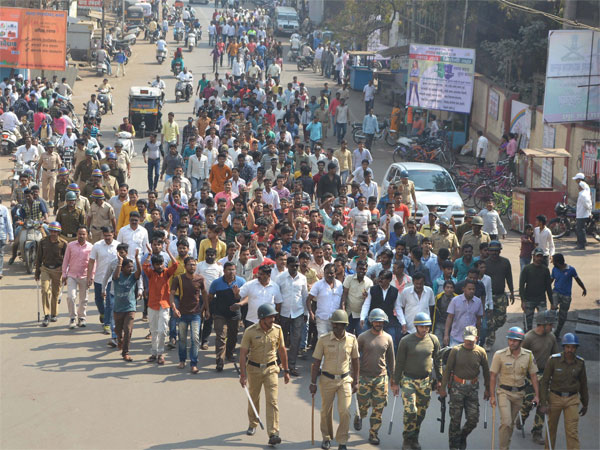 Dalits take part in a protest rally during their Maharashtra Bandh called over the Bhima Koregaon violence, in Karad, Maharashtra on Wednesday. PTI Photo