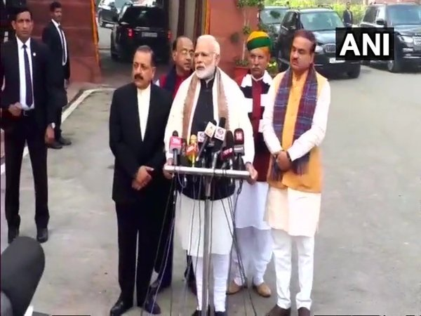 PM Modi addressing the media outside Parliament ahead of the Budget Session