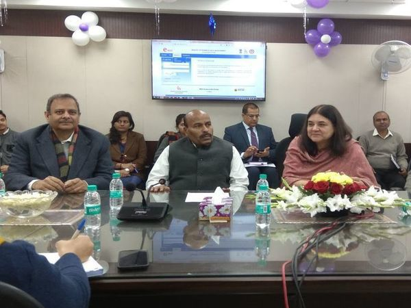 Maneka Gandhi launches NARI portal for schemes for women. Courtesy: @MinistryWCD