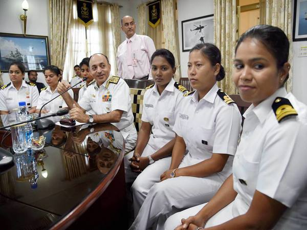 Six women officers of the Indian Navy