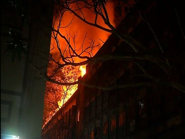 Fire breaks out at Navrang studio. Photo credit: ANI
