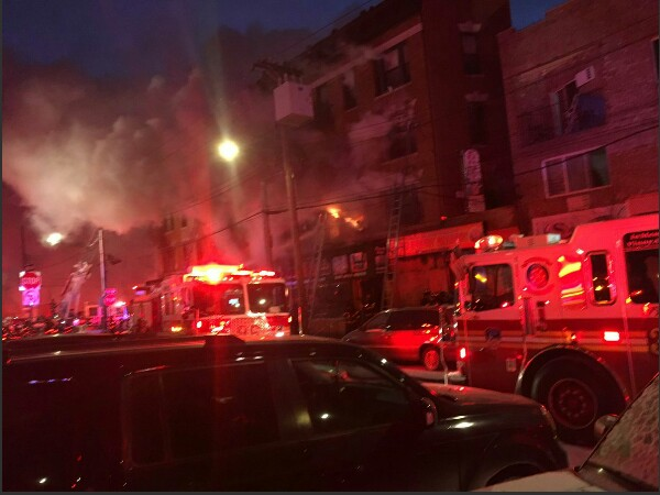 Huge fire at apartment complex in Bronx . Photo credit: Twitter