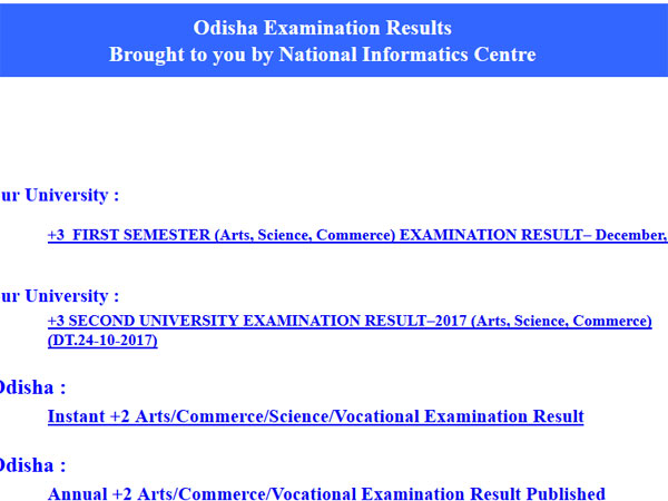 Odisha Sambalpur University BA, BSc, BCom First Semester results declared