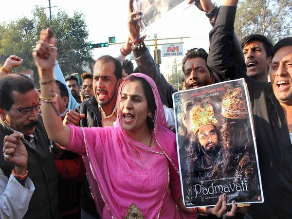 Karni Sena activists demonstrate against the release of Padmaavat, in Bhopal on Monday.