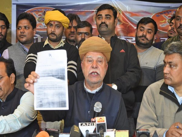 Rajput Karni Sena patron Lokendra Singh Kalvi addresses a press conference in Lucknow on Monday