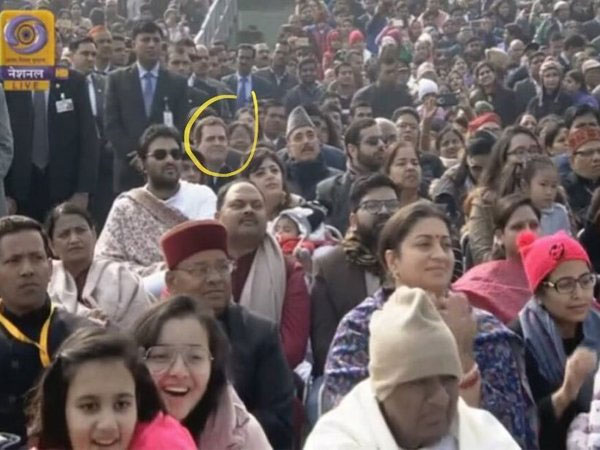 Congress President Rahul Gandhi watching Republic Day parade from sixth row. Courtesy: @ggiittiikkaa