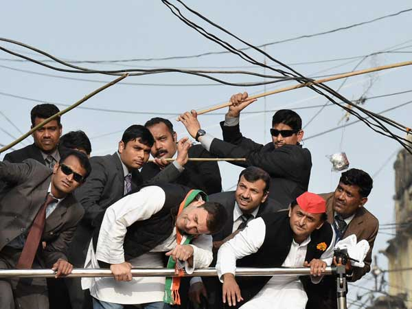Rahul Gandhi, Akhilesh Yadav during a road show in Lucknow. PTI file photo