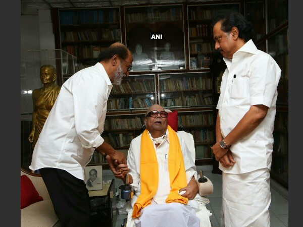 Rajinikanth meets DMK Chief Karunanidhi ahead of his political entry
