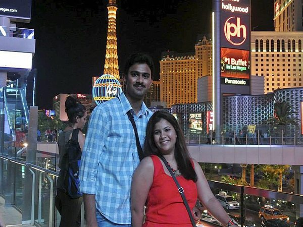 File photo of Srinivas Kuchibhotla (left) posing for photo with his wife Sunayana Dumala in Las Vegas
