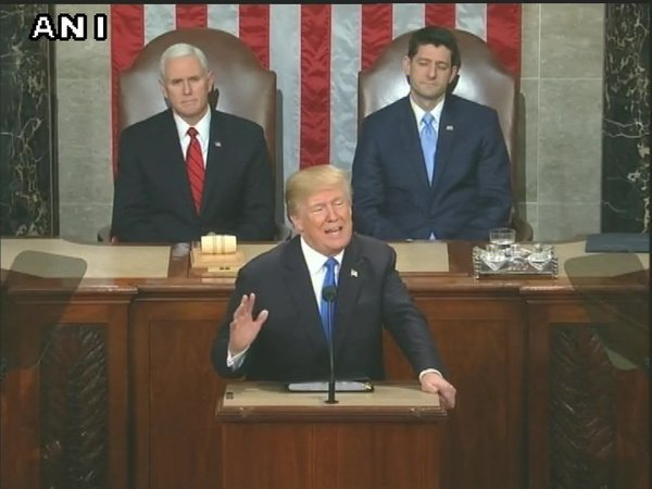 US President Donald Trump addressing joint session of Congress (Image courtesy - ANI/Twitter)