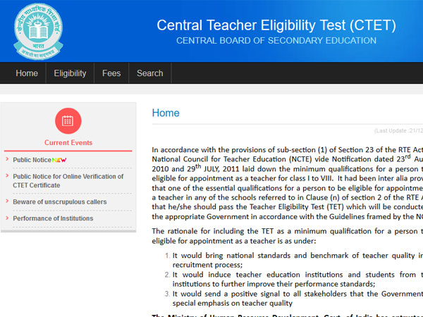 CTET 2018: Notification set to be released on this date