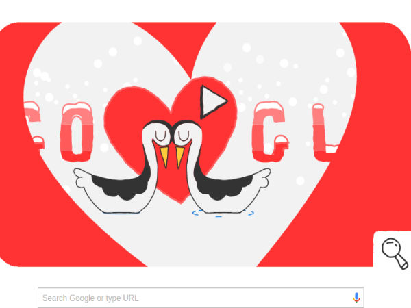 Google celebrates Valentine's day with Winter Olympics doodle