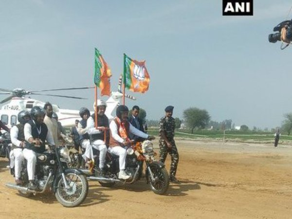 Bharatiya Janata Party (BJP) chief Amit Shah has begun bike rally. Courtesy: ANI news