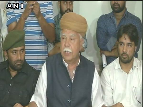 File photo of Lokendra Singh Kalvi addressing media persons. Photo credit: ANI