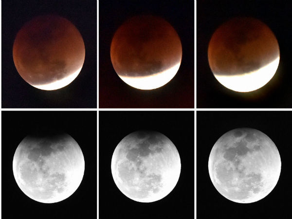 Different phases of moon during lunar eclipse in New Delhi