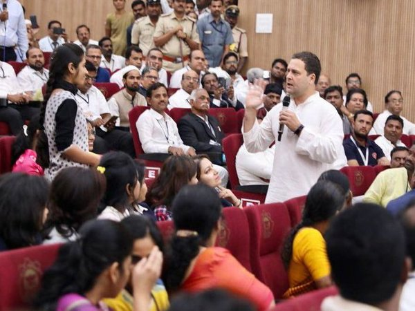 Congress President Rahul Gandhi interacting with professionals and business leaders in Gulbarga. Courtesy: @INCIndia