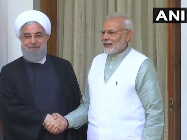 Iran President Hassan Rouhani meets with PM Narendr Modi in New Delhi. Courtesy: ANI news