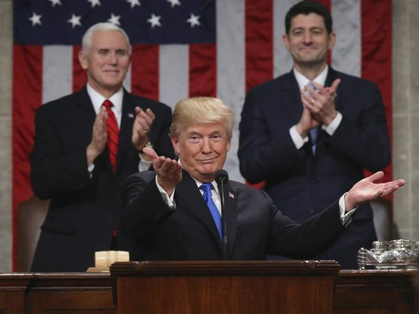 President Donald Trump gestures as delivers his first State of the Union address in the House chamber of the U.S. Capitol to a joint session of Congress. PTI file photo